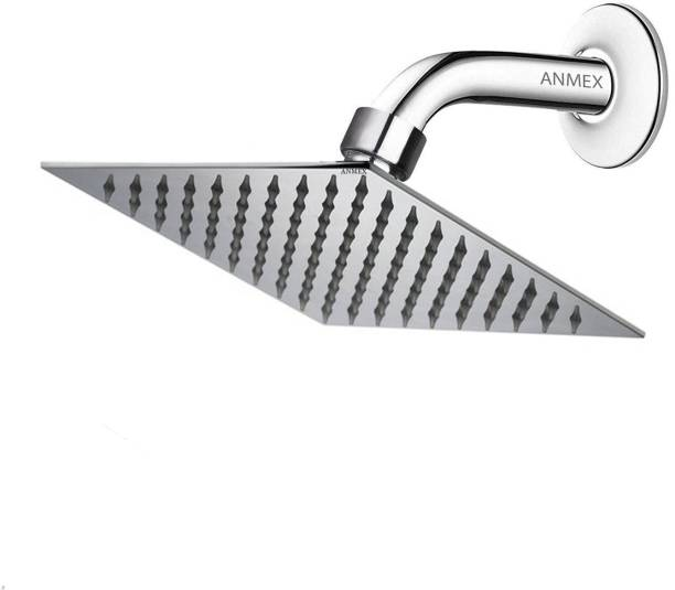"ANMEX 6X6 Ultra Thin SS Square (6"") Rain Shower Head Premium Quality with 9inch Round Arm Shower Head"