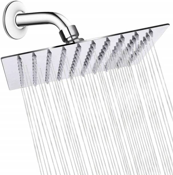 """ANMEX 8x8 Ultra Thin SS Square (8""""X8"""") Rain Shower Head Premium Quality with 9inch Round Arm Showers"""