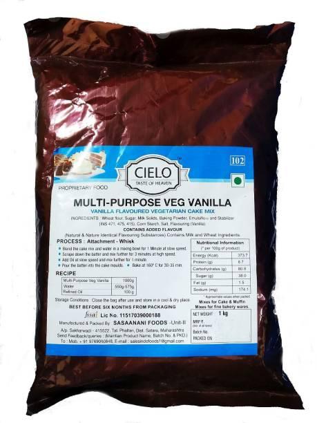 Cielo Multi-Purpose Vanilla Flavoured Vegetarian Cake Mix ,1Kg (Pack of 2) Self Rising Flour Powder