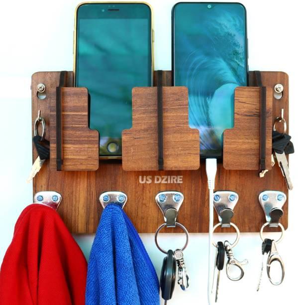 US DZIRE 827 Antique Mobile Charging Stand Key Holder, Cloth Hanger Handcrafted Art For Home Decor Living Room Bedroom Wood Key Holder