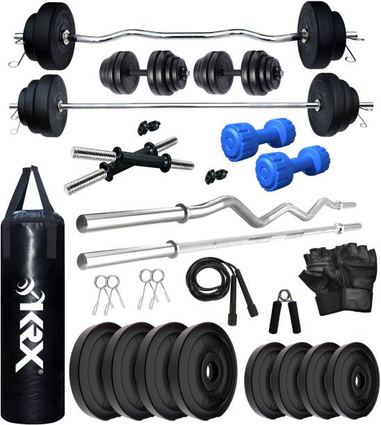 KRX 20 kg PVC 20 KG COMBO 343 WB with Unfilled Punching Bag & PVC Dumbbells Home Gym Combo