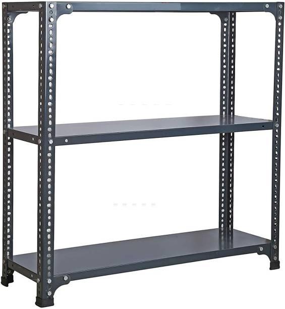 "Spacious Slotted Angle CRC Sheet 3 Shelves Multipurpose Storage Rack Dimension 12""X36""X59"" Luggage Rack"