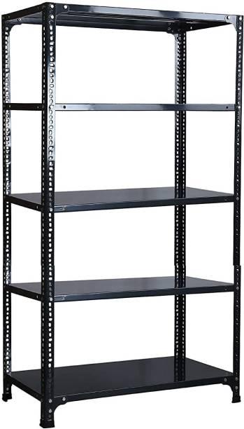"Spacious Slotted Angle CRC Sheet 5 Shelves Multipurpose Storage Rack Dimension 12""X36""X72"" Luggage Rack"