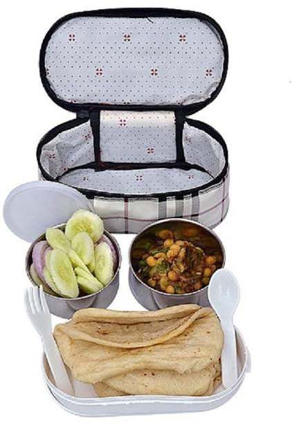 Topware onlinedeals Warm Fresh Food Steel Double Decker 3 Container Premium Lunchbox with Zipped Thermal Pouch Bag (2x300ml, 1x420ml, Multicolour) 3 Containers Lunch Box