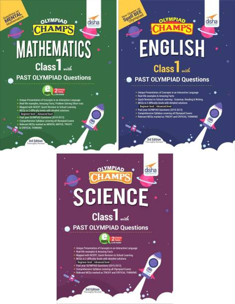 Olympiad Champs Science, Mathematics, English Class 1 with Past Questions
