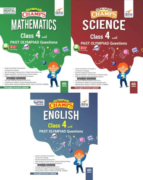 Olympiad Champs Science, Mathematics, English Class 4 with Past Questions