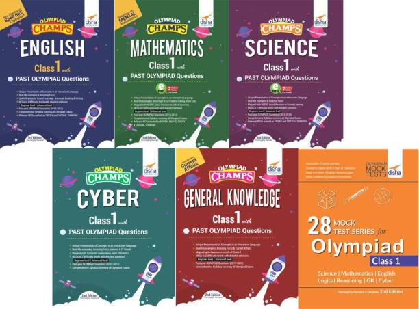 Olympiad Champs Science, Mathematics, English, Logical Reasoning, Cyber & Gk Class 1 with 28 Mock Tests