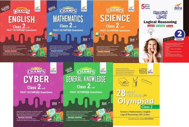 Olympiad Champs Science, Mathematics, English, Logical Reasoning, Cyber & Gk Class 2 with 28 Mock Tests