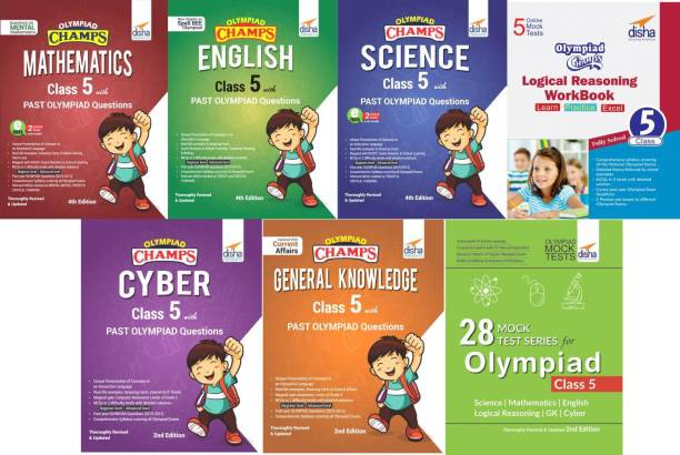 Olympiad Champs Science, Mathematics, English, Logical Reasoning, Cyber & Gk Class 5 with 28 Mock Tests