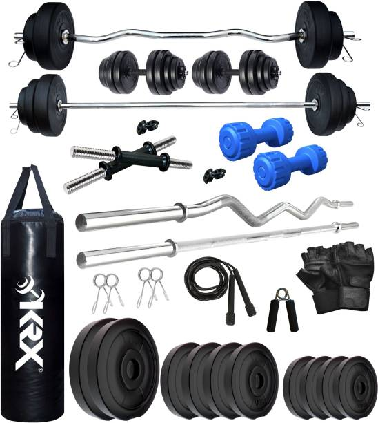 KRX 50 kg PVC 50 KG COMBO 343 WB with Unfilled Punching Bag & PVC Dumbbells Home Gym Combo