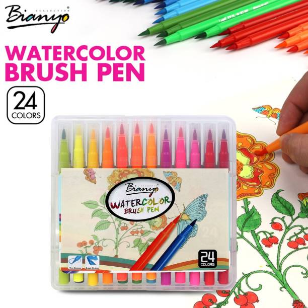 Bianyo 24 Color Premium Watercolor Painting Brush Marker Pens Set, Soft Flexible Tip Create Watercolor Effect - Best for Adult Coloring Books, Manga, Comic, Calligraphy