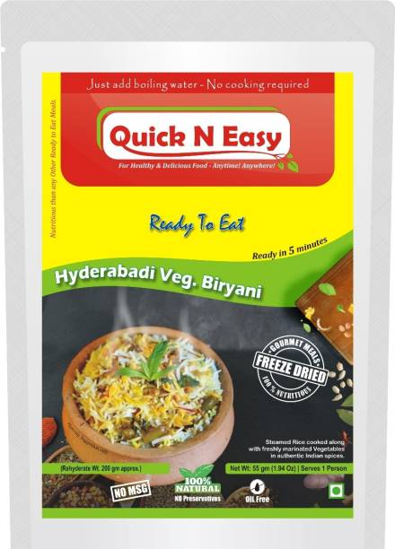 Easy to Cook Food Ready to Eat - Hyderabadi Biryani - Pack of 2 (Freeze Dried) 110 g