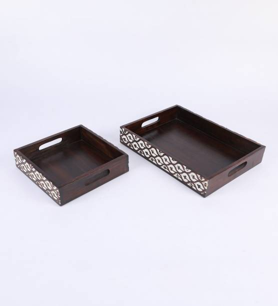 The Urban Store Decorative and Hand Crafted Wooden Serving Trays for Tea/Coffee/Drinks - Set of 2 Trays Tray Serving Set