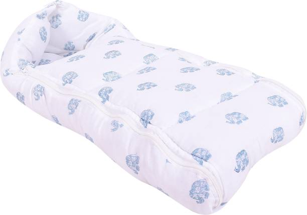 Mom's Home Baby Organic Cotton Muslin Sleeping carrying Nest Bag Elephant Print- 0-11 Months Sleeping Bag