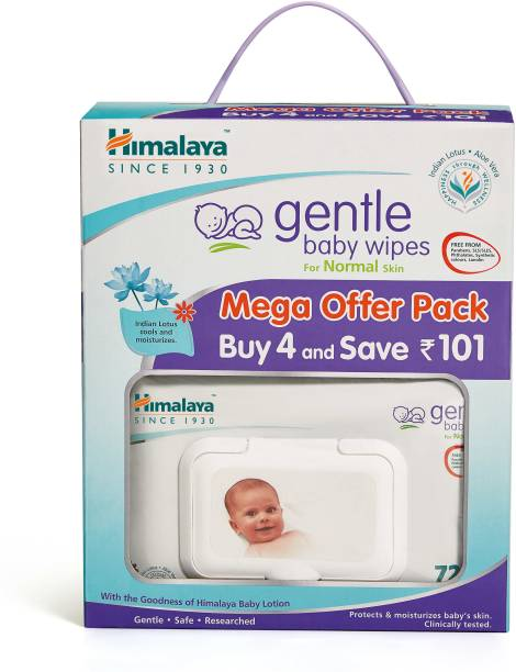 HIMALAYA Gentle Baby Wipes Mega Offer Pack (4 N X 72's)