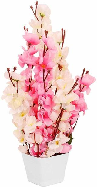 OkeyPlus Flower with Pot for Home Decoration White, Pink Cherry Blossom Artificial Flower  with Pot