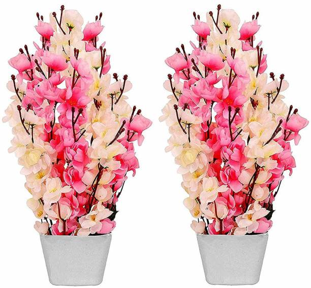OkeyPlus Blossom Flower with Pot for Home Decoration Pink Cherry Blossom Artificial Flower  with Pot