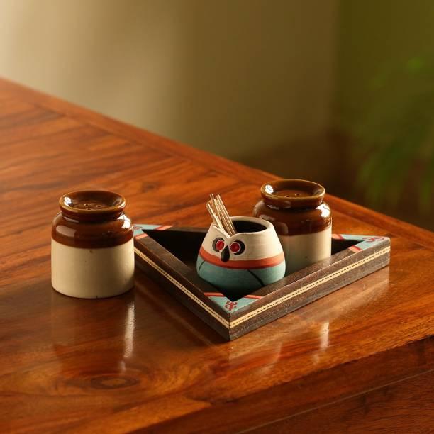ExclusiveLane Salt & Pepper Shaker Set With Toothpick Holder & Tray 4 Piece Salt & Pepper Set