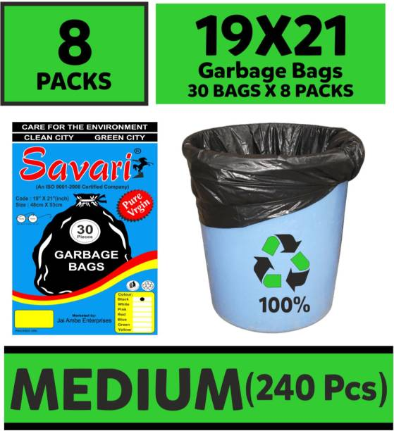 SAVARI Medium 240 pcs Garbage Bags - 4 packs of 30 Pcs - 120 pcs - 19X21 Black Medium Medium 6 L Garbage Bag