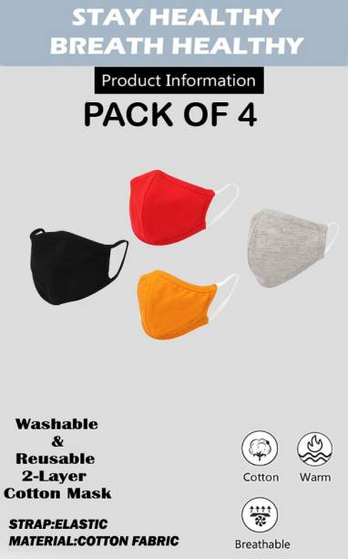 Dagcros Pack of 4-2 Layered- Washable & Reusable-Safety- Anti Pollution-Bike Rider-Cotton Mask