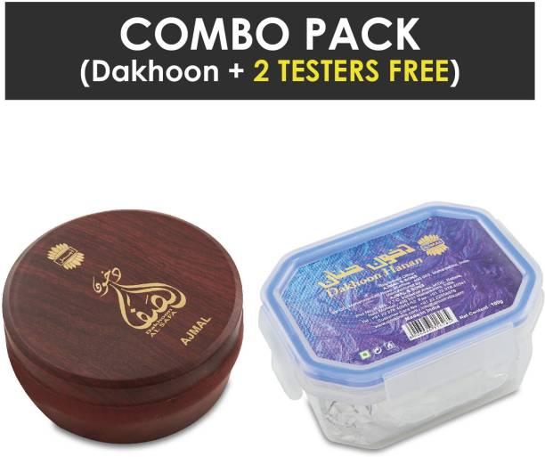 Ajmal Dakhoon Al Safa Oriental Bakhoor 200gms for Home and Dakhoon Hanan Oriental Bakhoor 100gms for Home + 2 Parfum Testers FREE Woody Dhoop