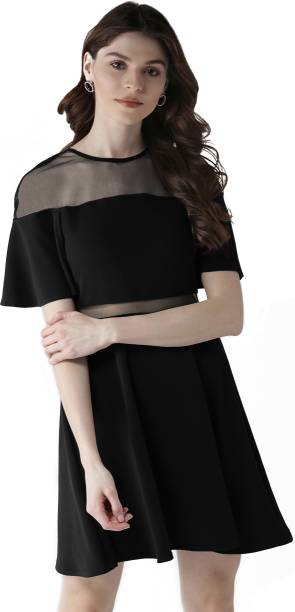 SVERA Women Fit and Flare Black Dress