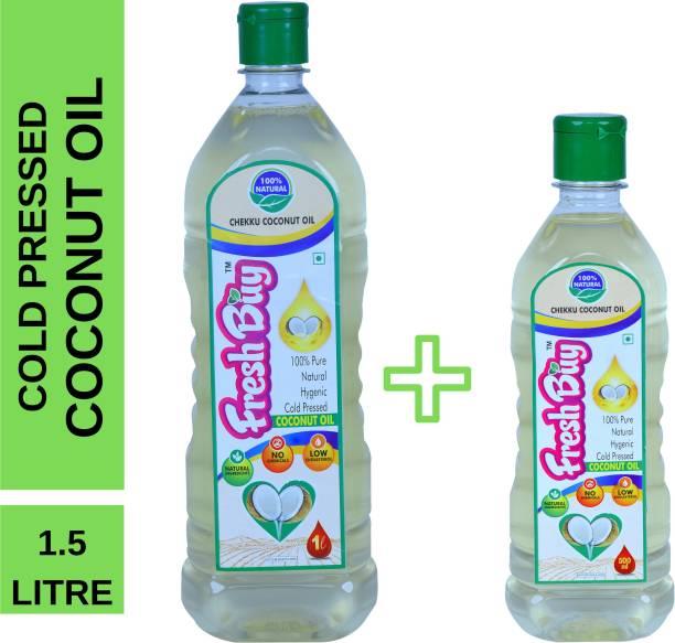 freshbuy Cold pressed coconut oil 1.5 litre combo pack (chekku / ghani / virgin) Coconut Oil Plastic Bottle