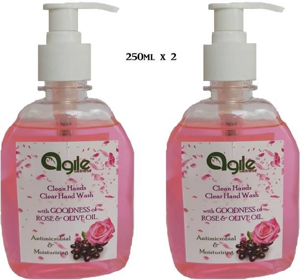 Agile Wellness Clean Hands Clear Hand Wash 2X250 = 500G Premium Quality Hand Wash Pump Dispenser