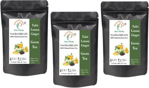 Nauratreats Tulsi Lemon Ginger Green Tea Pack of 3 (100gm X 3) Tulsi, Lemon, Ginger Green Tea Pouch