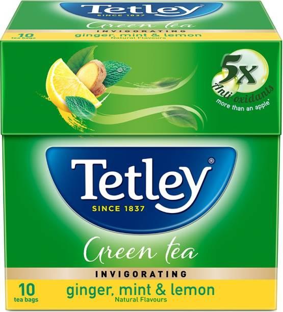 tetley Ginger, Mint & Lemon Green Tea Bags Box
