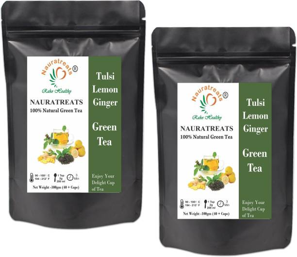Nauratreats Tulsi Lemon Ginger Green Tea Pack of 2 (100gm x2) Tulsi, Lemon, Ginger Green Tea Pouch