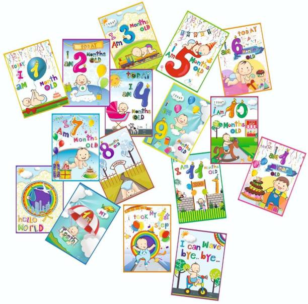 Vantagekart Newborn Baby Monthly Age Milestone Cards - Baby Shower Gift for Mom/Dad/Parents to Be (Paper, A5 Size, 21 x 14.8 x0.1 cm, Multicolour) -Set of 16 Cards Greeting Card