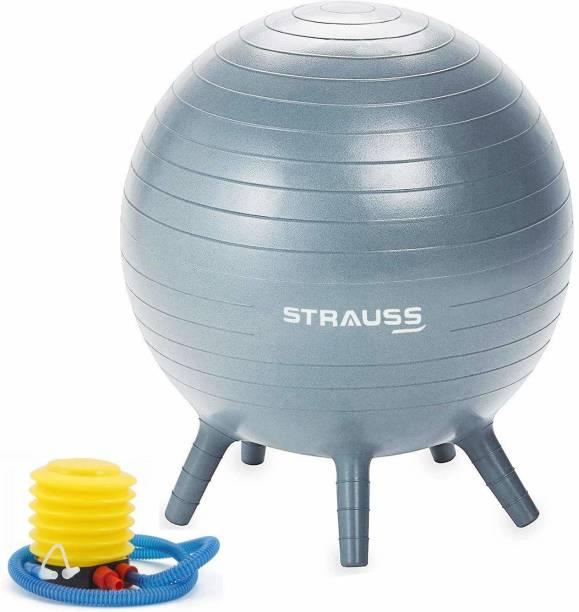 Strauss Anti Burst Stability Legs, 55 cm, With Pump, (Grey), Gym Ball