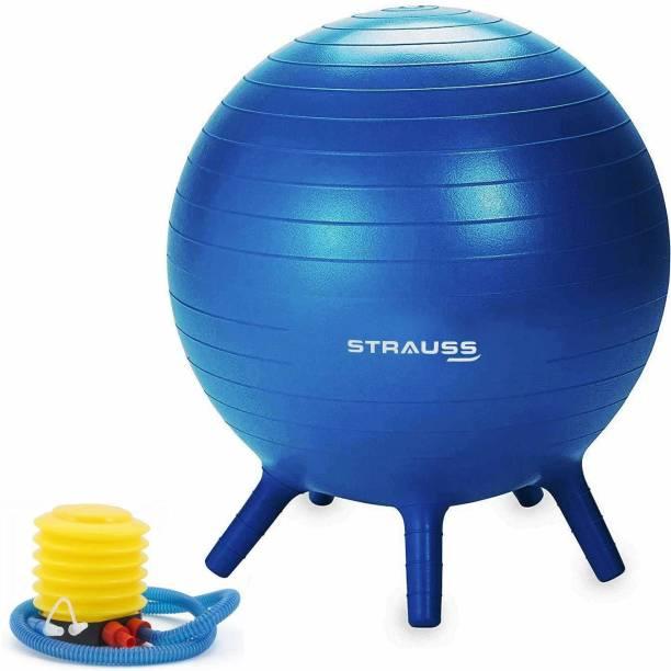 Strauss Anti Burst Stability Legs, 55 cm, With Pump, (Blue), Gym Ball