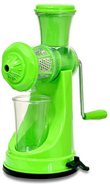 Try Me Plastic Hand Juicer Fruits and Vegetables Manual Hand Juicer Machine with Steel Handle Vacuum Locking System for Kitchen