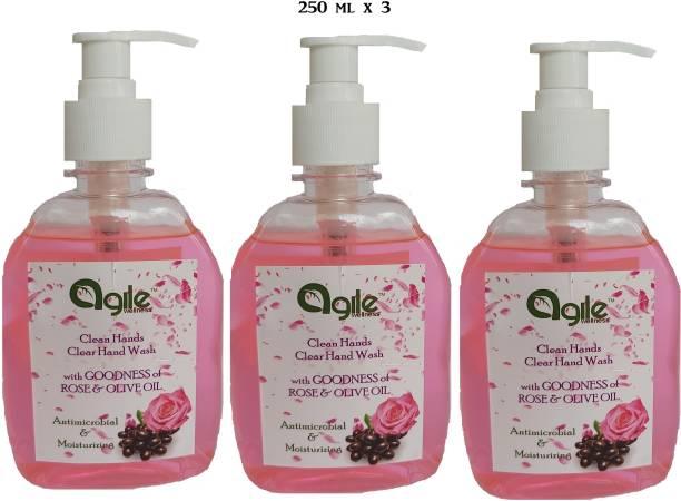 Agile Wellness Clean Hands Clear Hand Wash 3x250ml = 750ml Premium quality hand wash Hand Wash Pump Dispenser