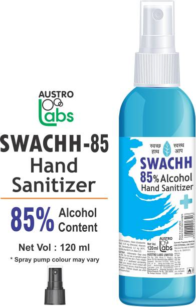 Austro Labs SWACHH 85 HAND SANITIZER LIQUID SPRAY - 120 ML Hand Rub Pump Dispenser