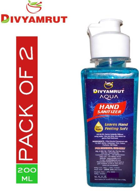 DIVYAMRUT AQUA Hand sanitizer_200 ML_( PACK OF 2 ) Hand Sanitizer Bottle