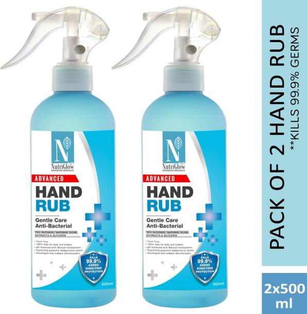 NutriGlow NATURAL'S Pack of 2 - Anti-Bacterial (Advanced Organics) Hand Rub 70% Alcohol Natural Olive Extract For Deep Cleanse Mouisturize Hands (2*500) Hand Rub Pump Dispenser