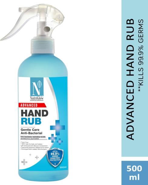NutriGlow NATURAL'S 70%(v/v) Alcohol Based (Advanced Organics) / For Kills Hands Germ|Best |Travel Friendly Hand Sanitizer Pump Dispenser