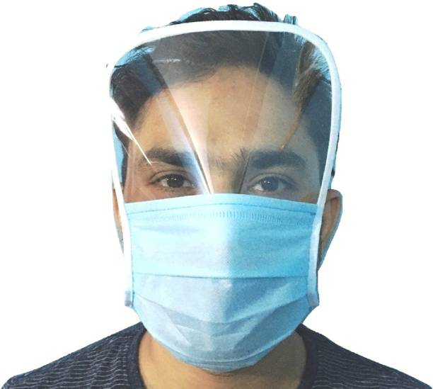 Royle Katoch 3-Ply FULL FACE COVER Plastic Shield Disposable Anti-Fog Isolation Face Shield Mask Plastic Shield Disposable Anti-Fog Isolation Face Shield Mask Safety Visor PACK OF 5 PC Cloth Mask
