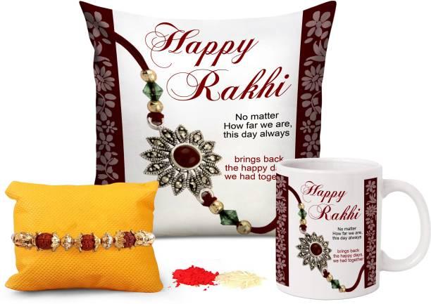 TIED RIBBONS Cushion, Chawal Roli Pack, Rakhi, Mug  Set