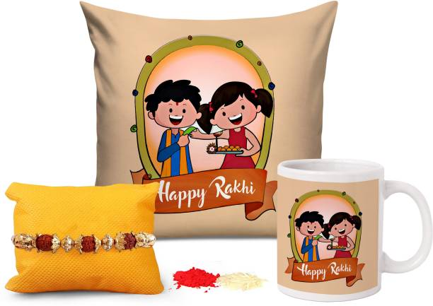 TIED RIBBONS Designer Cushion, Chawal Roli Pack, Rakhi, Mug  Set