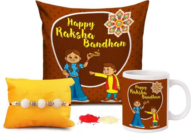 TIED RIBBONS Designer Cushion, Chawal Roli Pack, Rakhi, Mug  Set