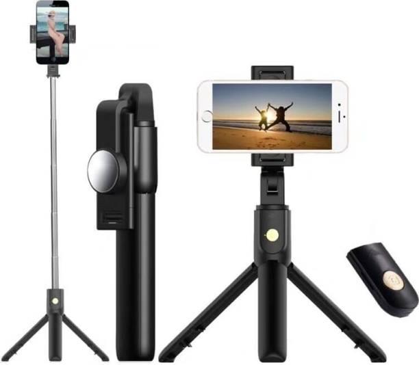Adofys KS-10 wireless bluetooth Extendable tripod+selfie stick Tripod (Black, Supports Up to 500 g) Tripod