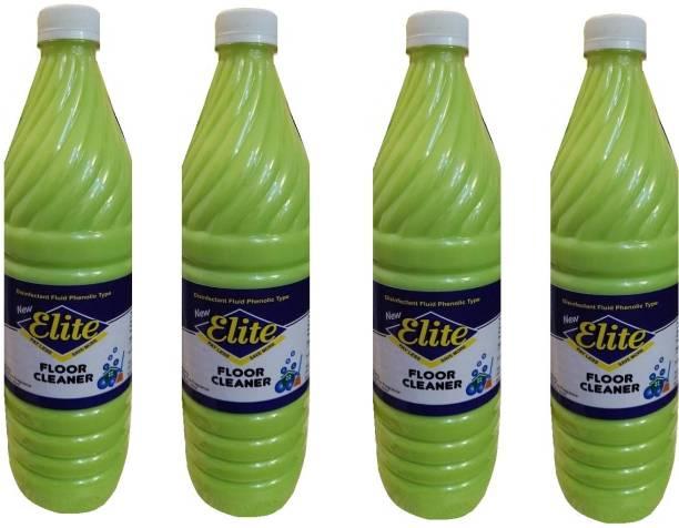Elite Green Floor cleaner (Disinfectant Fluid Phenolic Type) - 1 Litre, Pack of 4 Floral