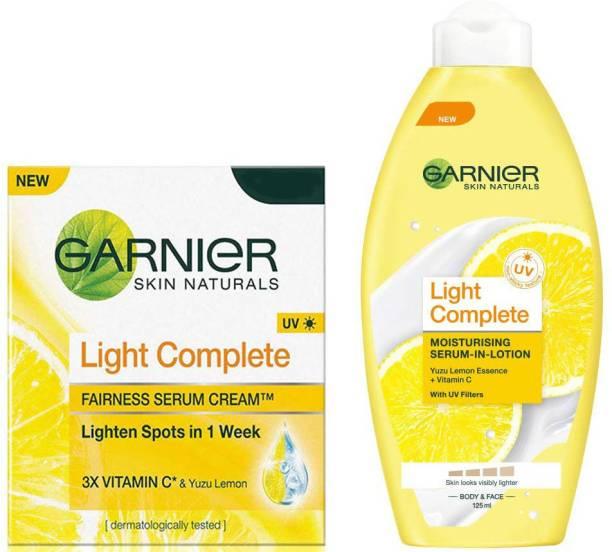 GARNIER Light Complete Fairness Serum Cream, 45g , Light Complete Moisturising Serum In Lotion, 125ml set of 2