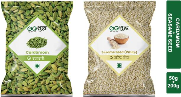 Goshudh Premium Quality Elaichi 50g And White Til 200g combo pack of 2 Combo