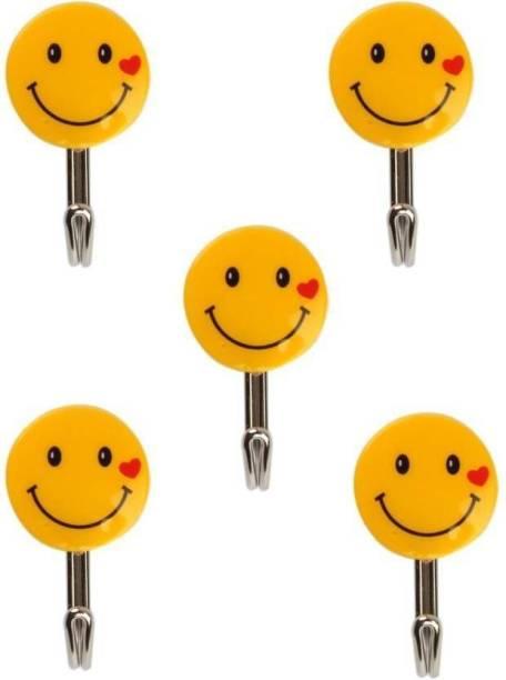 AANYA Self Adhesive Smiley 5 Pieces, Load Capacity 0.5kg Hook