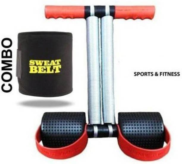 Gjshop Combo Red Double Steel Spring with Sweat Belt Home Gym Kit Gym & Fitness Kit